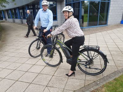 Staff test out e-bikes at B. Braun