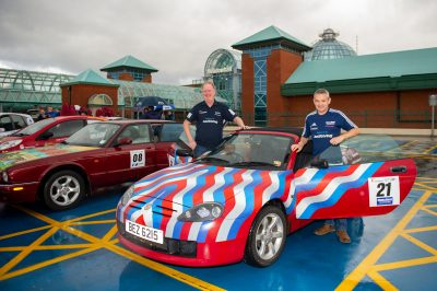 David Woodhouse and Richard Grafton in their MG rally car designed by Rob Lee
