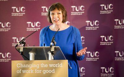 Frances O'Grady - TUC press conference, Manchester.© Jess Hurd