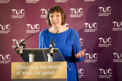 Frances O'Grady - TUC press conference, Manchester.© Jess Hurd