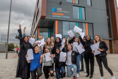 UTC Sheffield Olympic Legacy Park students celebrating achieving a top set of GCSE and technical results