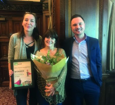 Winner Jo Reid(centre) with her nominator Sonia Bielaszweska and Rob Shaw