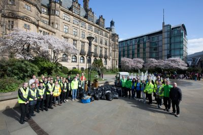 SheffieldBID volunteers with rubbish. Credit Andy Brown