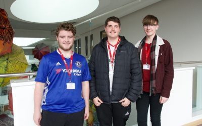 Media students Matty Hugill, Kyle Walker and Karl Wellbelove