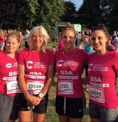 Barnsley College staff completing the Race for Life in 2018.