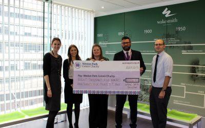 Weston Park Cancer Charity Wake Smith cheque handover May 19