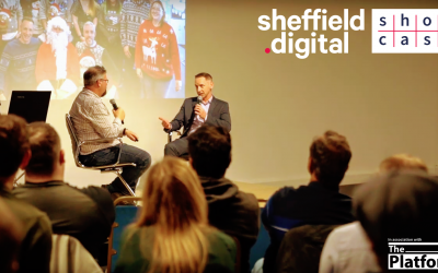 Chris Dymond (Sheffield Digital) James Fox (3Squared) at Sheffield Digital Showcase 2 Spring 2019