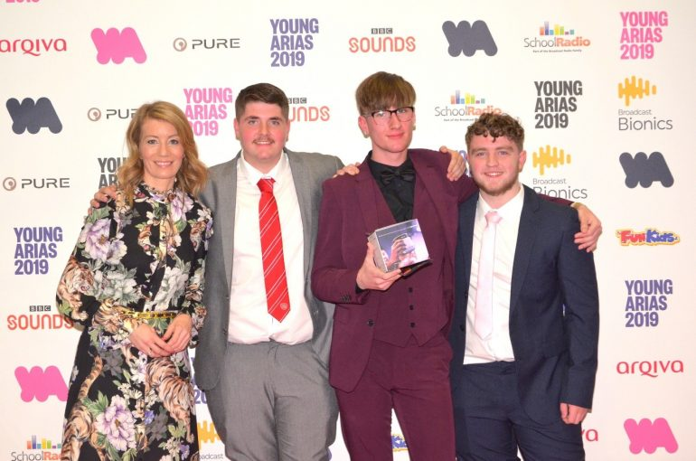 Kait Borsay with students (L-R) Kyle Walker Karl Wellbelove and Matty Hugill at the awards