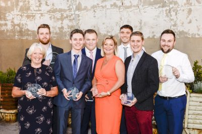 The winners with their awards- L-R Julie Austin James Davies Sam Draycott George Marriott Simone Fox. Tom Walker Richard Fyfe and Scott Bailey-min