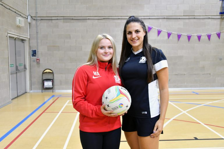 (L-R) Megan Atkinson with netball coach Amy Horsfield.
