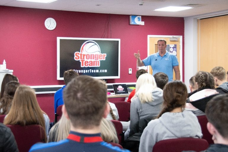 Paul Broadbent talking to students_
