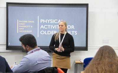 BSc (Hons) Physical Activity Health and Exercise student Daisy Marriott presenting information on Physical Activity for older adults_