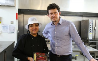 Jennifer Peiris co-founder of Vigour Vita and Darren Procter catering operations manager at Sheffield Hallam University