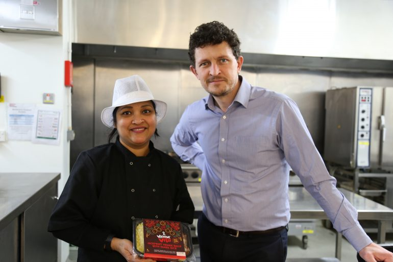 Jennifer Peiris co-founder of Vigour Vita and Darren Procter catering operations manager at Sheffield Hallam University