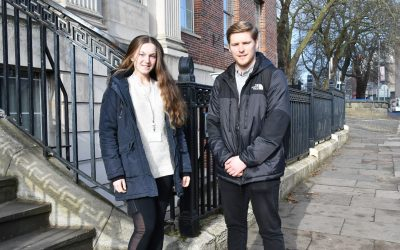 Left to right BA (Hons) Sport Physical Education and Health students Katy Owen and Matthew Foster_