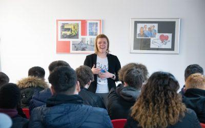 Nat Jackson speaking at Barnsley College for International Women's Day