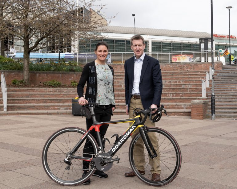 Mayor Jarvis and Dame Sarah with bike
