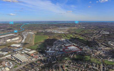 Tungsten Park Sheffield aerial marked up